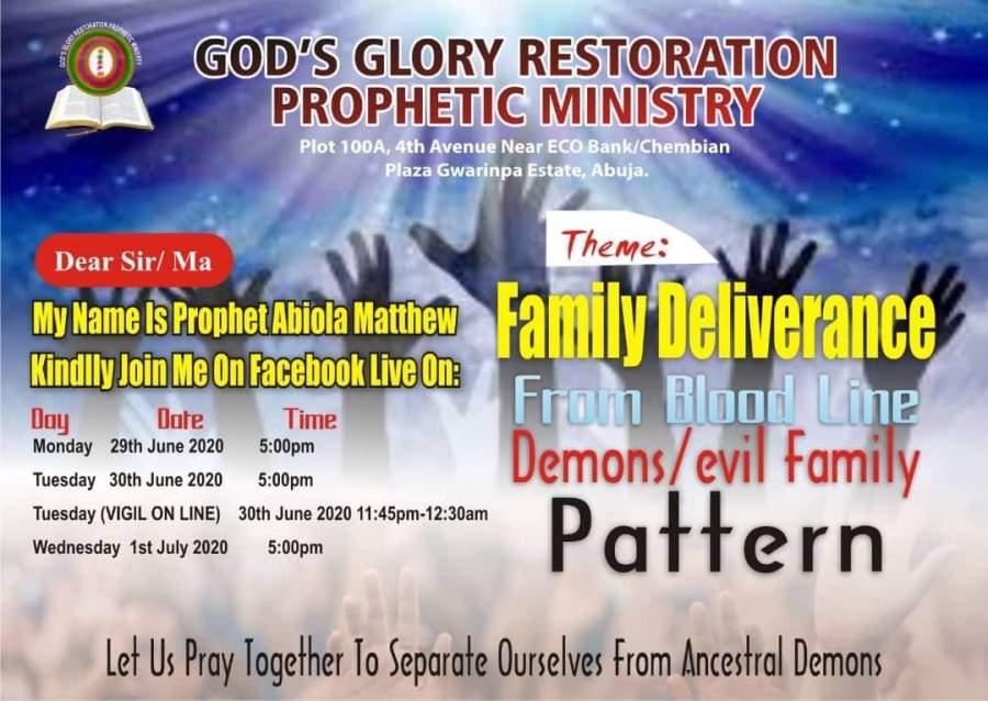 SPONSORED: Family deliverance from bloodline demons/ evil family pattern – God's Glory Restoration PropheticMinistry